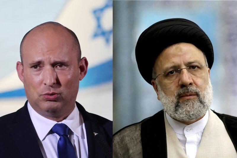 Israelin pääministeri Naftali Bennett (vas.) ja Iranin tuleva presidentti Ebrahim Raisi.
