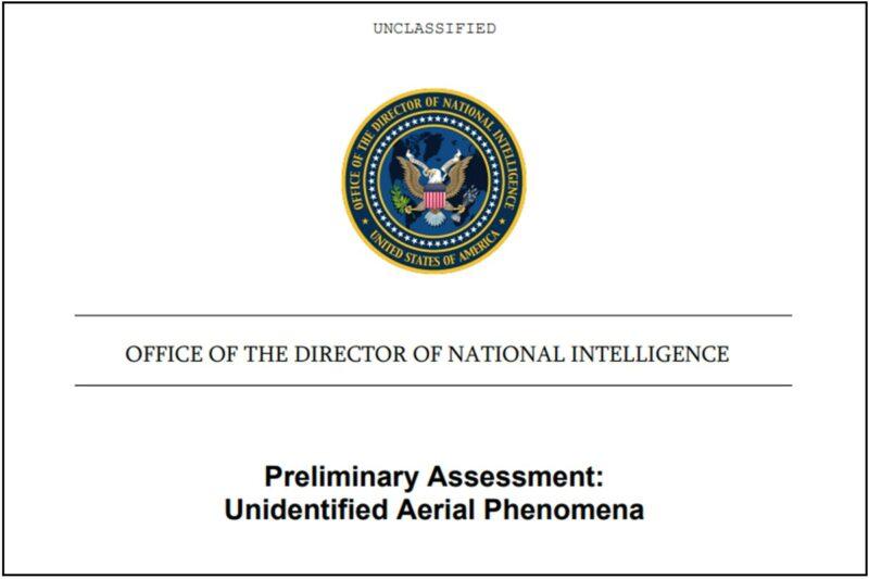 Kesäkuun 25. päivänä 2021 julkaistun UAP-raportin kansilehti kertoo, ettei raportti ole salainen.
