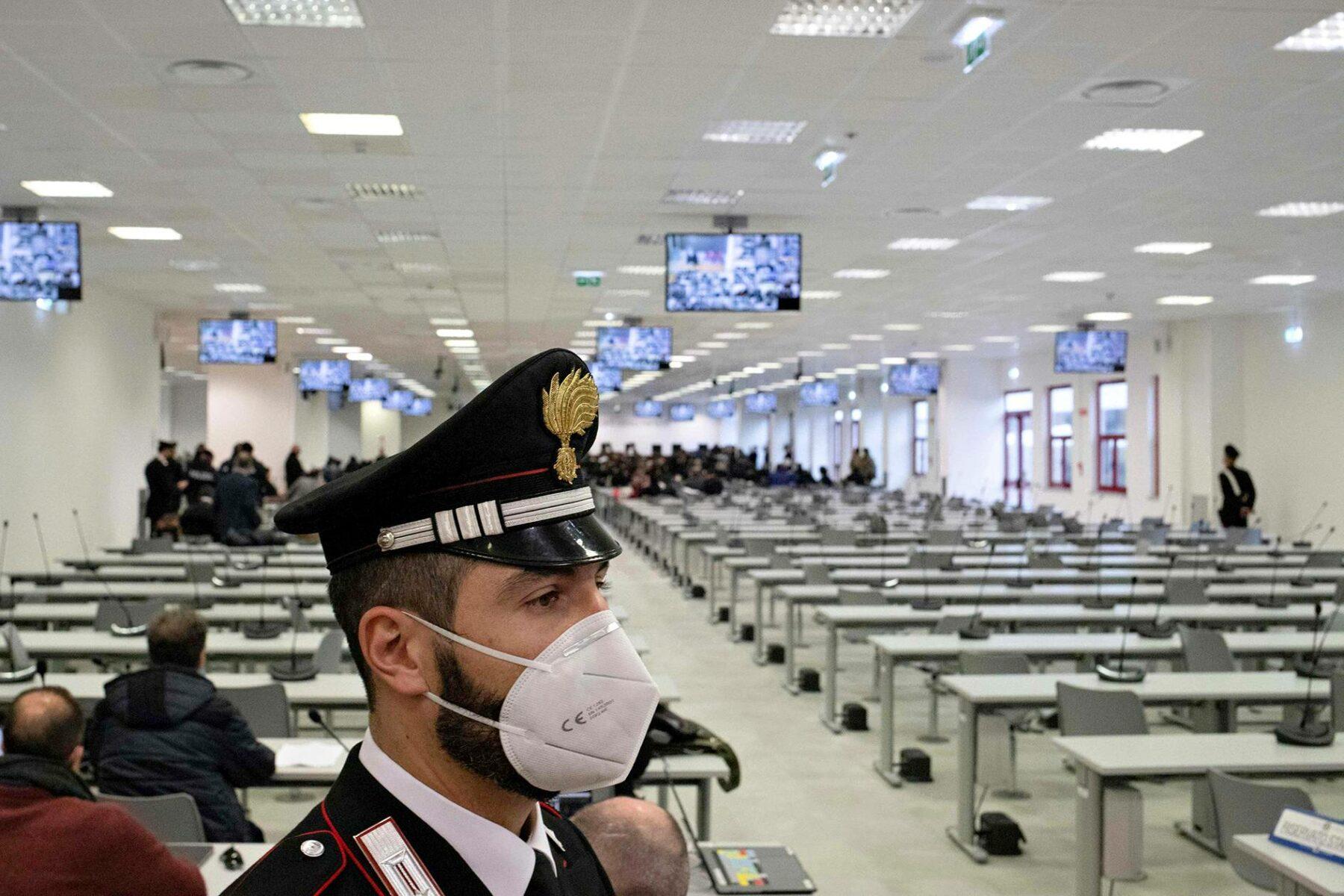 'Ndrangheta-järjestön oikeudenkäynti Calabriassa tammikuussa 2021.