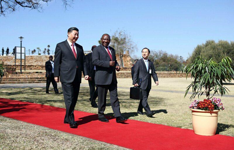 Kiinan ja Etelä-Afrikan presidentit Xi Jinping ja Cyril Ramaphosa tapasivat ensi kertaa Etelä-Afrikan Pretoriassa heinäkuussa 2018.