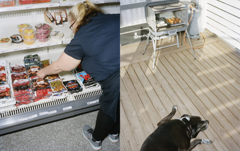 Sanna Niskala järjestelee makkarahyllyä Joutsjärven K-kyläkaupassa. Niskalan mukaan perinteistä jauhomakkaraa käy nykyään kaupaksi verraten vähän. Nita-koira odottaa makkaroiden valmistumista Kalajoen leirintäalueella. Kun mainitaan sana makkara, koira tietää, mitä on luvassa.