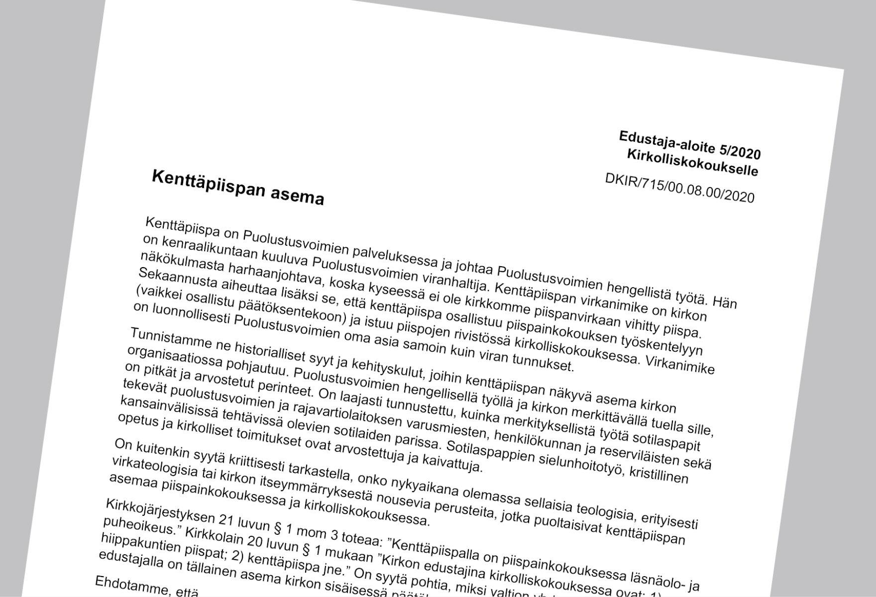 Turun kokouksessa käsitellään muun muassa kenttäpiispaan liittyvää aloitetta.