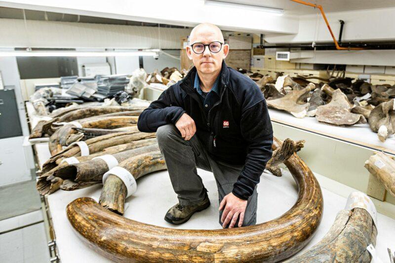 Tutkija Matthew Wooller yliopiston hammaskokoelman keskellä.