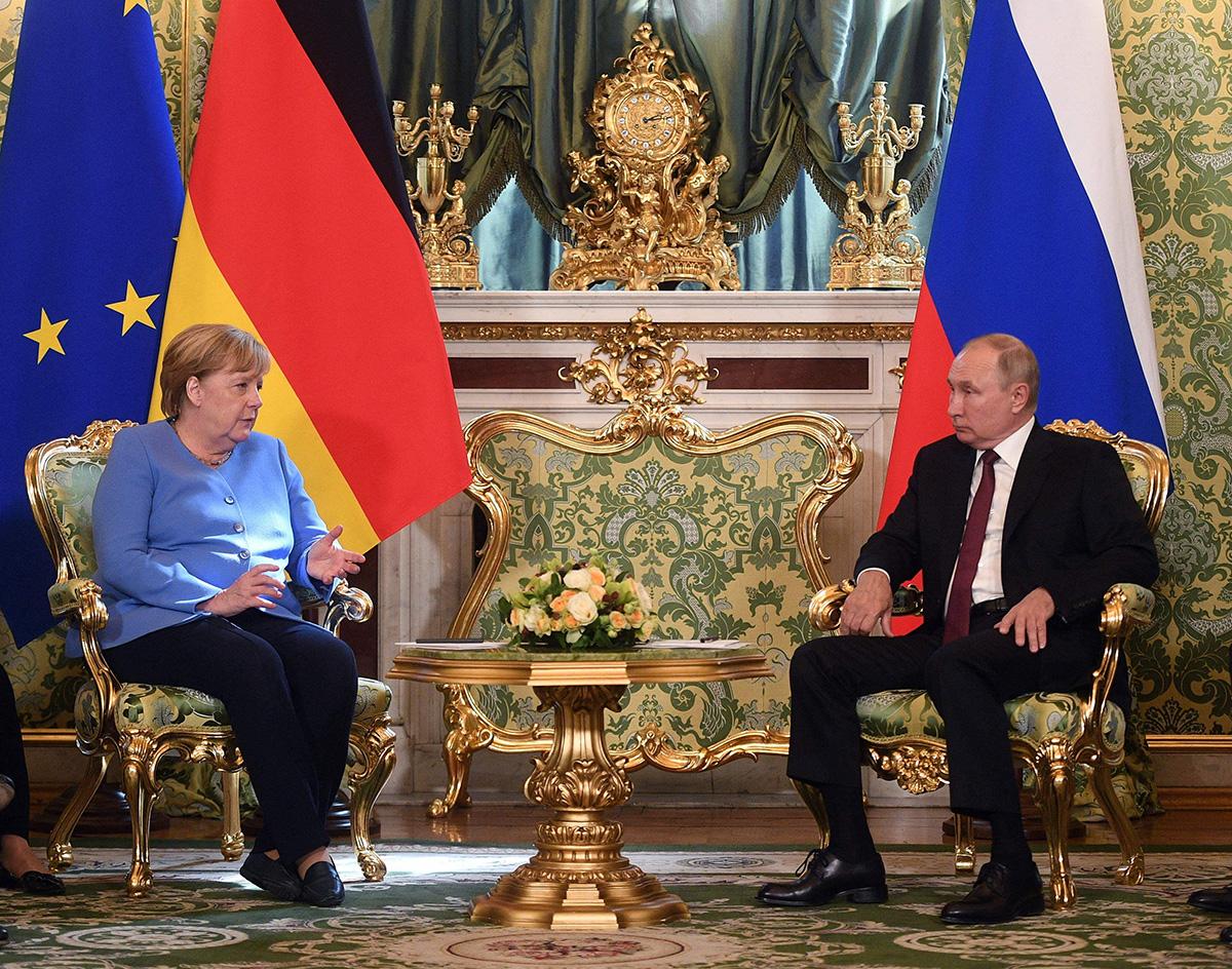 Saksan liittokansleri Angela Merkel ja Venäjän presidentti Vladimir Putin tapasivat Moskovassa syyskuussa 2021.