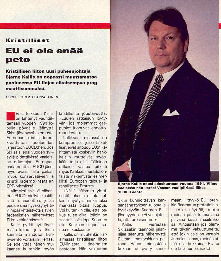 """SK 23/1995 (9.6.1995) Tuomo Lappalainen: """"EU ei ole enää peto""""."""