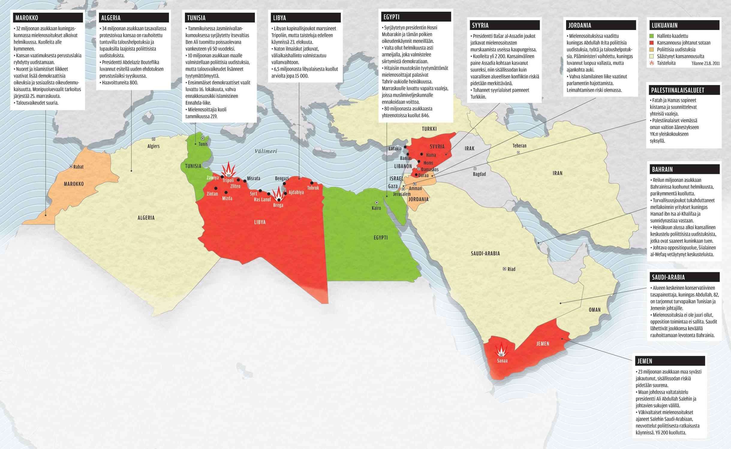 Kartta Syntyyko Arabien Kansannousuista Yhtakaan Demokratiaa
