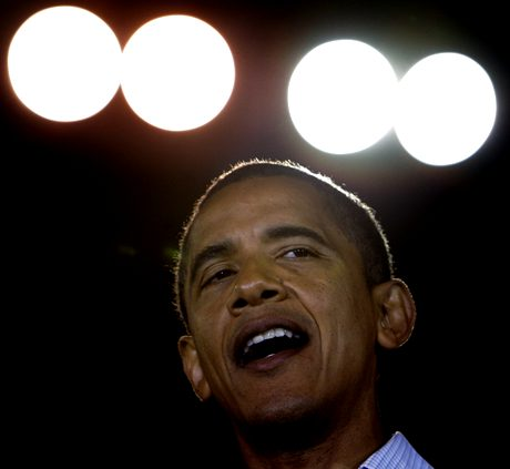 Democratic presidential candidate Sen. Barack Obama, D-Ill., speaks at a rally at Parkview High School in Springfield, Mo. Saturday, Nov. 1, 2008.(AP Photo/Alex Brandon)