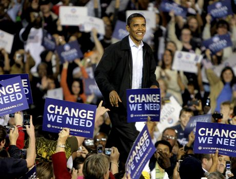 Democratic presidential candidate, Sen. Barack Obama, D-Ill., arrives at a rally in Cincinnati, Ohio, Sunday, Nov. 2, 2008. (AP Photo/Jae C. Hong)