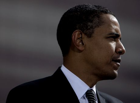 Democratic presidential candidate Sen. Barack Obama, D-Ill. pauses for a moment while addressing supporters at a rally in Raleigh, N.C., Wednesday, Oct. 29, 2008. (AP Photo/Jae C. Hong)