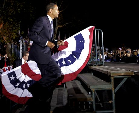 Democratic presidential candidate, Sen. Barack Obama, D-Ill., arrives at a rally in Highland, Ind., Friday, Oct. 31, 2008. (AP Photo/Jae C. Hong)