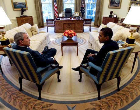 In this photo released by the White House, President Bush and President-elect Obama meet in the Oval Office of the White House Monday, Nov. 10, 2008, in Washington. (AP Photo/The White House, Eric Draper)