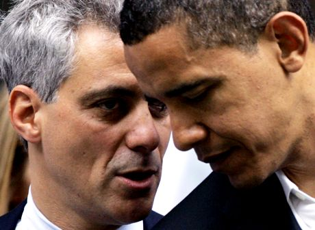 In this June 6, 2008, file photo Rep. Rahm Emanuel, D-Ill., left, huddles with then-Democratic presidential candidate Sen. Barack Obama, D-Ill. in Chicago. President-elect Barack Obama chose Emanual to be his White House chief of staff, his first selection for the new administration, Democratic officials said Wednesday. (AP Photo/Charles Rex Arbogast, File)