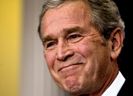 President George W. Bush smiles during his last formal news conference in the press room at the White House in Washington, Monday, Jan. 12, 2009. (AP Photo/J. Scott Applewhite)