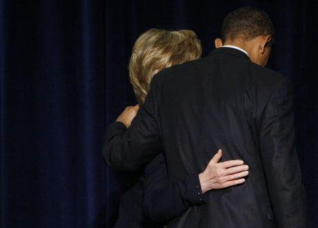 President-elect Barack Obama, right, and Secretary of State-designate Sen. Hillary Rodham Clinton, D-N.Y.; walk out together after a news conference in Chicago, Monday, Dec. 1, 2008. (AP Photo/Charles Dharapak)