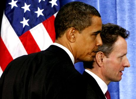 President-elect Barack Obama, and Treasury Secretary-designate Timothy Geithner, right, leave a news conference in Chicago, Monday, Nov. 24, 2008, after the president-elect introduced his economic team. (AP Photo/Pablo Martinez Monsivais)