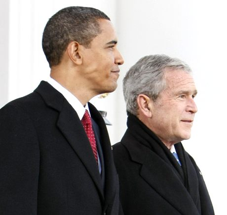Barack Obama ja George W. Bush 20. tammikuuta 2009