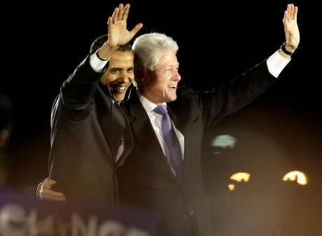 Democratic presidential candidate Sen. Barack Obama, D-Ill., waves with former President Bill Clinton at a rally at Osceola Heritage Park in Kissimmee, Fla., Wednesday, Oct. 29, 2008.(AP Photo/Jae C. Hong)