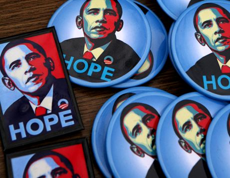 Barack Obama presidential campaign buttons are for sale by a sidewalk vendor on Monday, Nov. 3, 2008 in New York. Republican contender Sen. John McCain faces his Democratic opponent Obama on Tuesday. (AP Photo/Mark Lennihan)