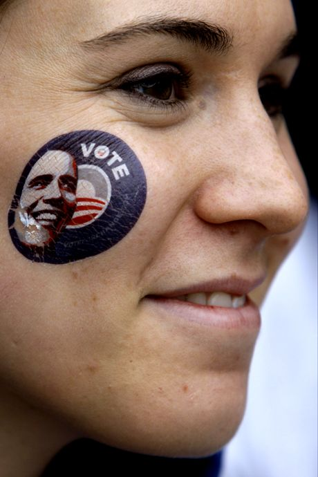 Charlotte Levy , a campaign volunteer for Democratic presidential candidate Sen. Barack Obama, displays an image of Obama on her cheek on election day in Philadelphia, Tuesday, Nov. 4, 2008. (AP Photo/Matt Rourke)