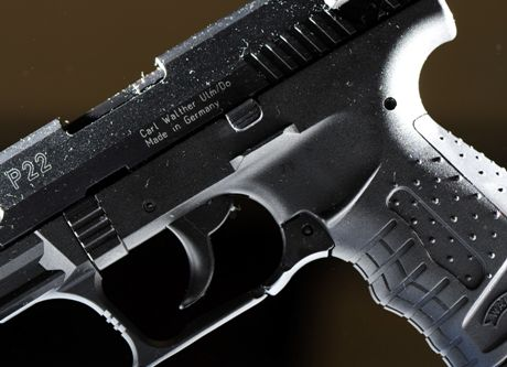 Walther P22 Target semi-automatic small bore pistol pictured in a gun shop in Helsinki on September 24, 2008. A 22-year-old gunman Matti Juhani Saari opened fire on students with similar semi-automatic pistol in Kauhajoki, Western Finland, on Tuesday morning September 23, 2008, killing ten people and injuring one before shooting himself.