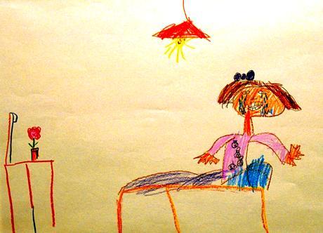 """Pääkaupungin turvakoti ry: n lisärakennus vihittiin maanantaina käyttöön. Turvakodissa on esillä lasten siellä piirtämiä töitä. Kuvassa 6 vuotiaan tytön piirros nimeltä; """" Mua pelottaa hirveästi kun isä ja äiti tappelee. Mä meen turvaan mun omaan sänkyyn ja yritän ajatella kivoja asioita, mutta mua vaan itkettää."""""""